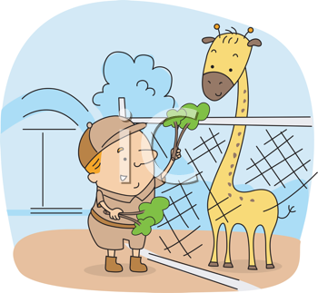 Royalty Free Clipart Image of a Zookeeper