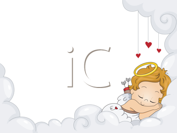 Royalty Free Clipart Image of a Sleeping Baby Cupid