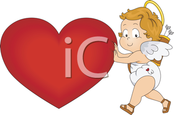 Royalty Free Clipart Image of a Cupid Pushing a Giant Heart