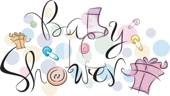 Royalty Free Clipart Image of Baby Shower Text