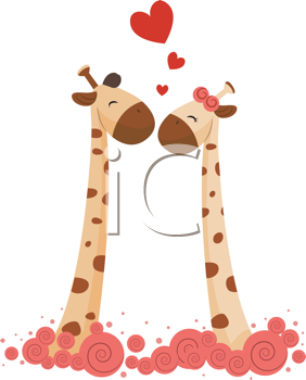 Royalty Free Clipart Image of Giraffes in Love