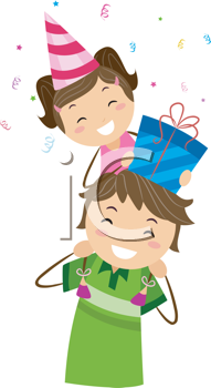 Royalty Free Clipart Image of a Birthday Girl on Her Dad's Shoulders