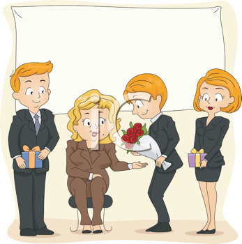 Royalty Free Clipart Image of a Retirement Party