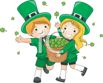 Royalty Free Clipart Image of Two Children in Irish Costume Scattering Shamrocks