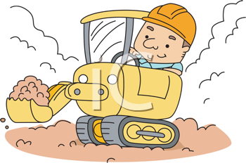Royalty Free Clipart Image of a Man Operating a Front-End Loader