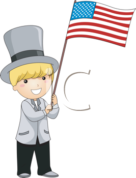 Royalty Free Clipart Image of a Child Waving an American Flag