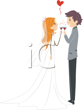 Royalty Free Clipart Image of a Newlywed Couple Toasting