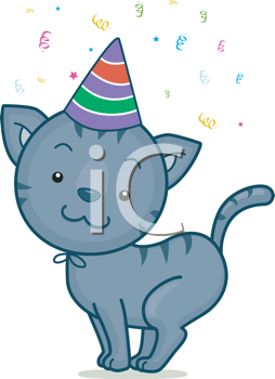 Royalty Free Clipart Image of a Cat in a Party Hat