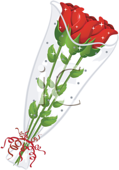 Royalty Free Clipart Image of Three Red Roses in Plastic
