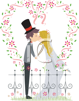 Royalty Free Clipart Image of a Couple Kissing the Garden