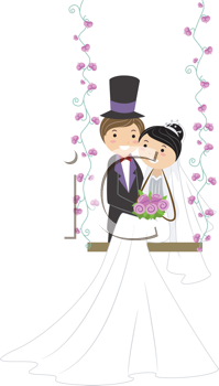 Royalty Free Clipart Image of Newlyweds on a Swing