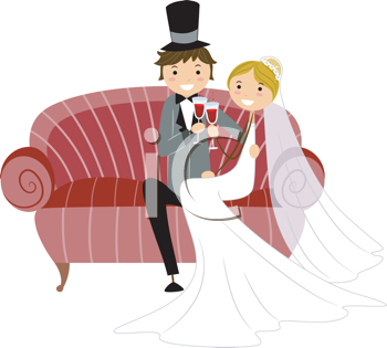 Royalty Free Clipart Image of a Bridal Couple Toasting on a Settee