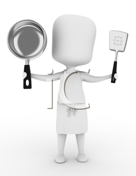 3D Illustration of a Man in Apron Holding Cooking Tools