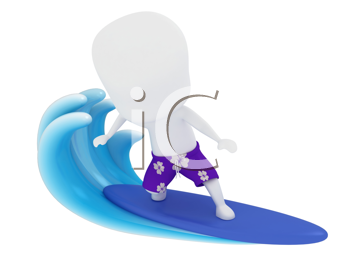 3D Illustration of a Man Surfing on Water