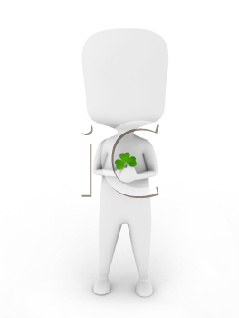 3D Illustration of a Man Holding a Shamrock