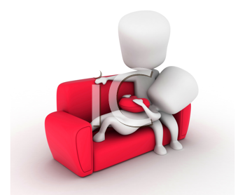 3D Illustration of a Couple on the Couch