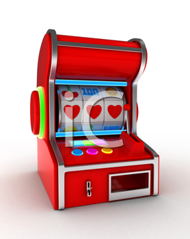 Illustration of a Slot Machine Displaying a Combination of Three Hearts