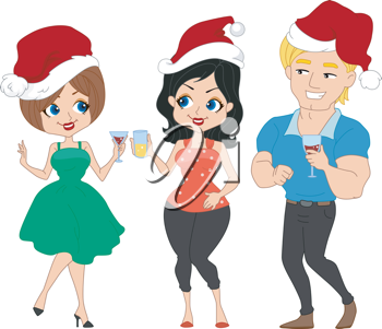 Illustration of a Christmas Party with a Pinup Theme