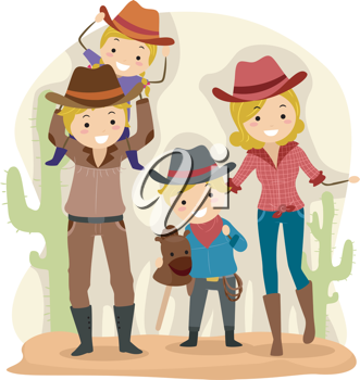 Illustration of a Family Dressed as Cowboys