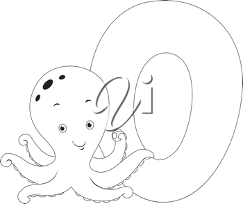 Coloring Page Illustration Featuring an Octopus