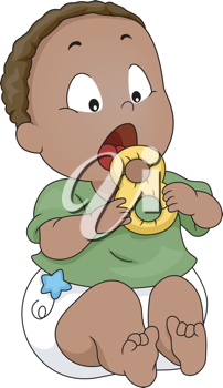Illustration of a Baby Putting a Teether into His Mouth