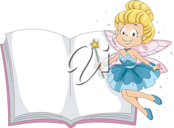 Illustration of a Fairy Hovering Beside a Book