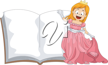 Illustration of a Girl Dressed as a Princess Standing Beside a Book