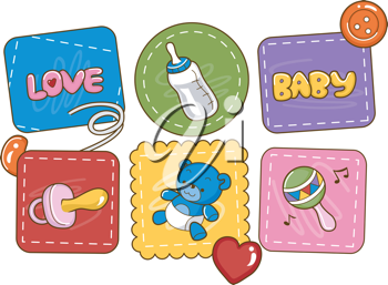 Illustration Featuring Baby Related Items