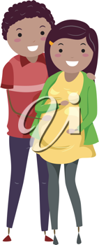 Illustration of a Pregnant Stickwoman and Her Husband