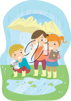 Royalty Free Clipart Image of Children Doing an Experment in the Rain