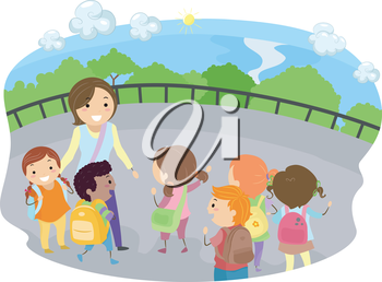 Royalty Free Clipart Image of a Teacher and Students on a Field Trip