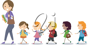 Royalty Free Clipart Image of Children Following Their Teacher