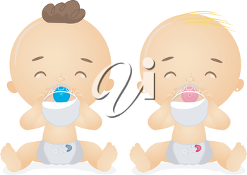Royalty Free Clipart Image of Babies With Bottles