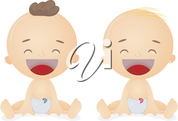 Royalty Free Clipart Image of Two Laughing Babies