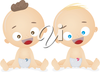 Royalty Free Clipart Image of Two Babies