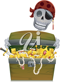 Royalty Free Clipart Image of a Pirate With a Chest of Gold