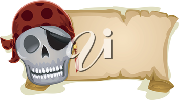 Royalty Free Clipart Image of a Pirate Skull Beside a Banner