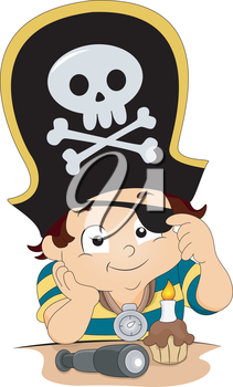 Royalty Free Clipart Image of a Boy Dressed as a Pirate With a Cupcake and Candle
