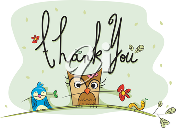 Royalty Free Clipart Image of a Thank You With Birds