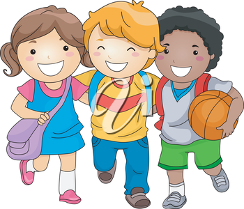 Royalty Free Clipart Image of Three Children