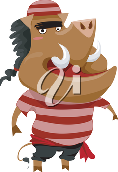 Royalty Free Clipart Image of a Boar in a Striped Pirate Shirt