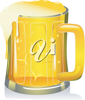 Royalty Free Clipart Image of an Overflowing Beer Mug