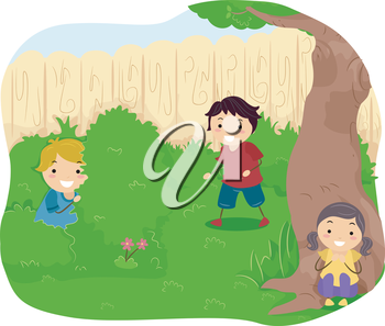 Royalty Free Clipart Image of Children Playing Hide and Seek
