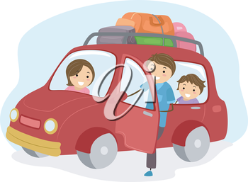 Illustration of Stickman Family Traveling in a Car