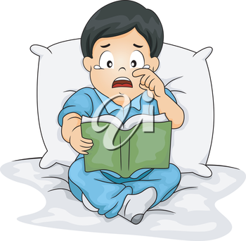 Illustration of an Asian Boy Shedding Tears While Reading a Storybook