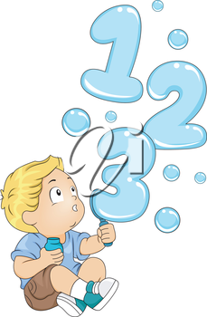 Illustration of a Kid Playing with a Bubble Maker Spouting 123