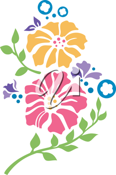 Illustration of Ready to Use Stencils of Flowers