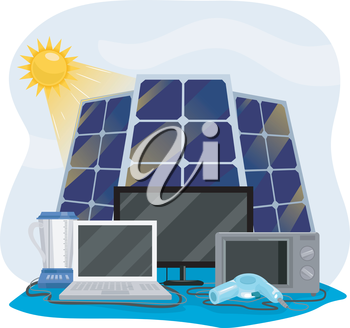 Illustration Featuring Different Appliances Hooked Up to Solar Panels