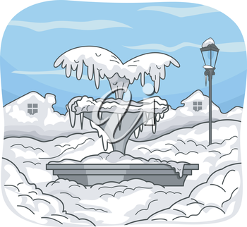 Illustration Featuring a Frozen Water Fountain