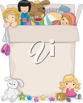 Background Illustration Featuring a Box Full of Toys for Girls